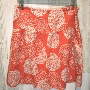 Fossil silk cotton floral red off white skirt